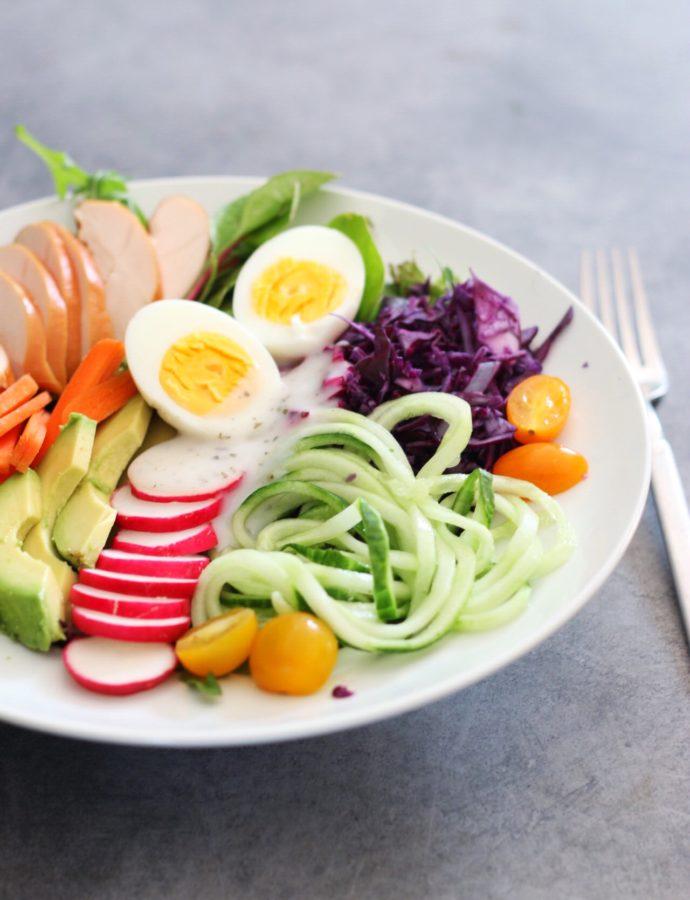 Koolhydraatarme caesar Salade Poke bowl