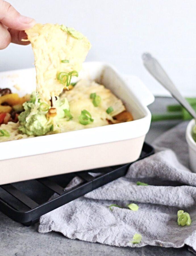 Koolhydraatarme nacho's met gehakt ovenschotel